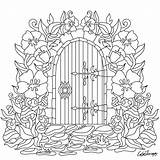 Garden Coloring Gate Pages Door Drawing Colouring Flowers Adult Therapy Books Adults Embroidery Sheets Mandala Flower Drawings Printable Paper Clip sketch template