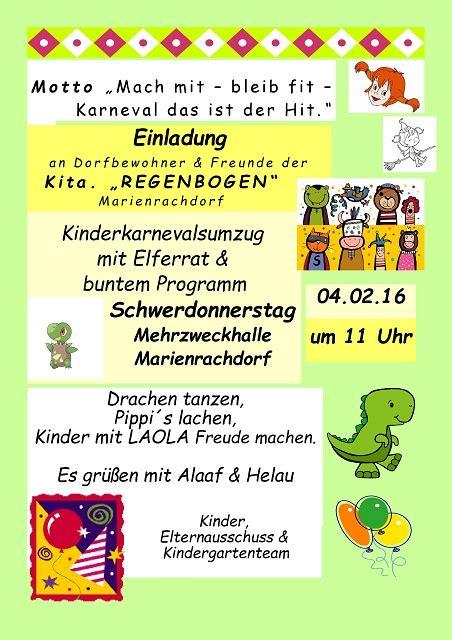 einladung karneval kindergarten marienrachdorf