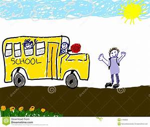 Child's Drawing Of Bus Ride To School Stock Illustration ...