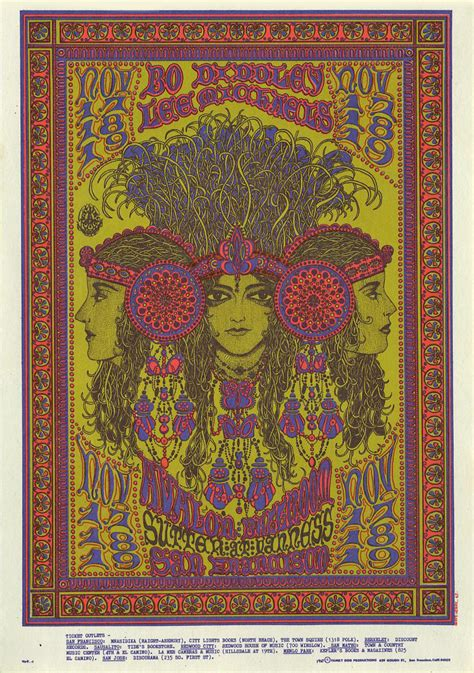 1960s psychedelic artists poster graphics artist 1967 william november postcard bo ballroom henry diddley avalon posters