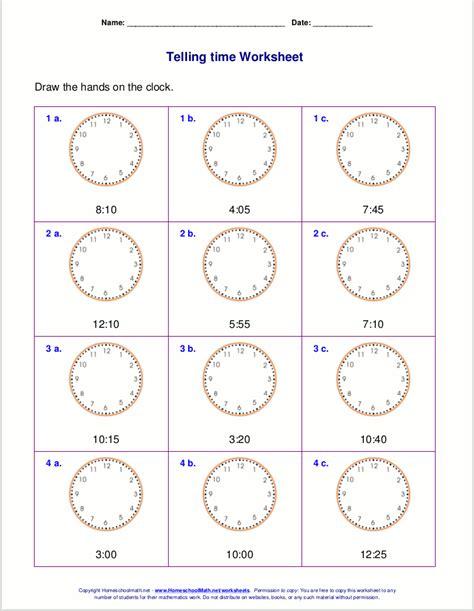 telling time worksheets   grade   kids