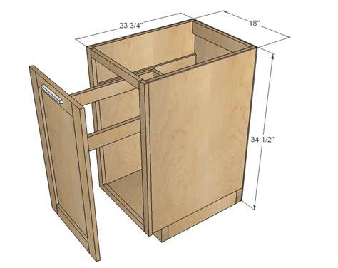 upper corner kitchen dimensions ana white 18 quot kitchen base trash pull out or