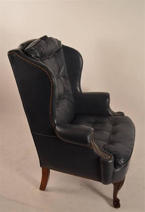 midnight blue leather wing chair with cabriole leg at 1stdibs