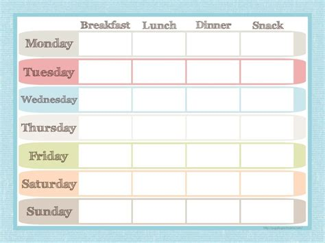 30 day meal planner template blank