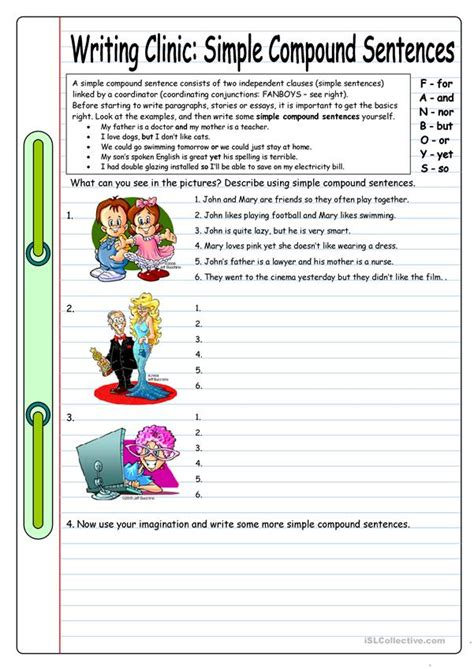 writing clinic simple compound sentences worksheet