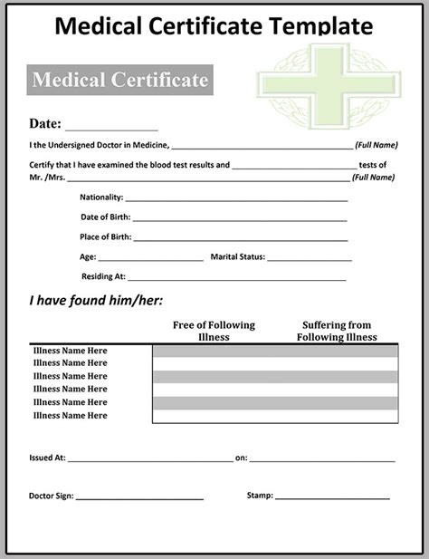 Sick Certificate Template by Certificate Template 20 Free Word Pdf