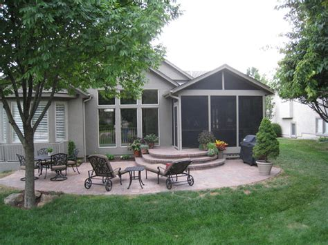 screened porch and paver patio in overland park ks