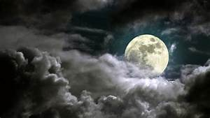 Beautiful cloudy night, full moon, moonlight - HD ...
