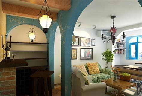 Mediterranean Style Living Room Interior Design With Arch