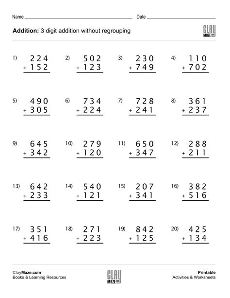 3 Digit Addition No Carrying Worksheets  Triple Digit Addition Without Regrouping Worksheets
