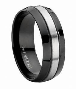 stainless steel black mens wedding ring With black mens wedding rings