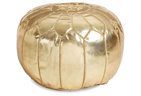 Gold Ottoman Pouf by Moroccan Leather Pouf Gold Poufs From One