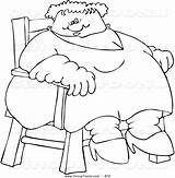 Fat Coloring Circus Clipart Lady Sitting Chair Freak Clip Royalty Advertisement Panda Template sketch template