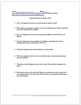 napoleon exiled to st helena primary source worksheet by