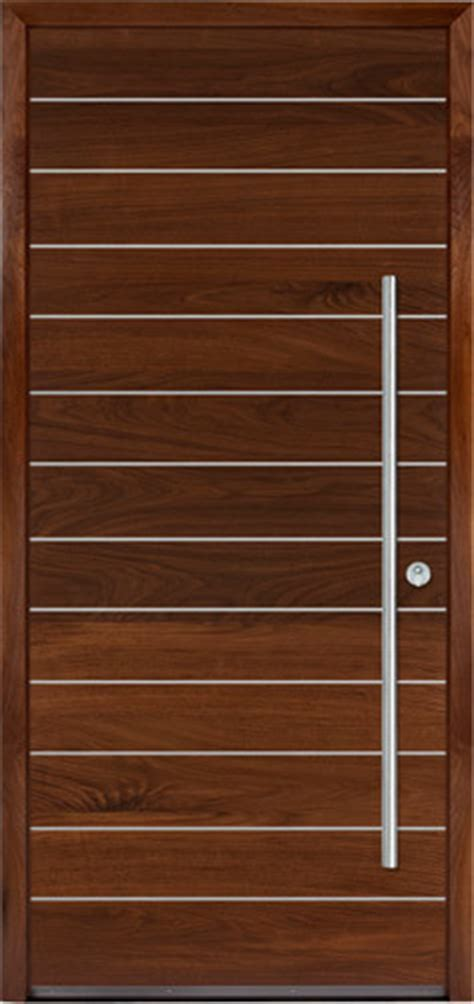 Walnut door with stainless steel inserts   Contemporary