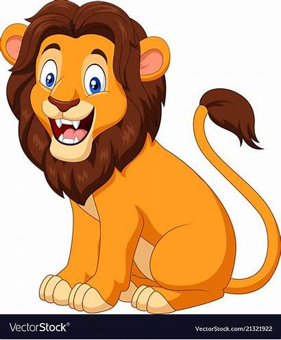Lion Cartoon Happy Sitting Vector Royalty