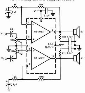 lm1877 bassed audio power amplifier circuit and With lm1877 8211 dual audio power amplifier schematics datasheet and application