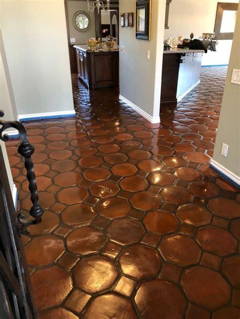 spanish oak stain  saltillo tiles   tile stained