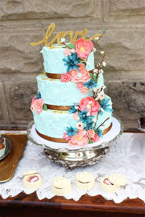 Coral Mint And Gold Wedding Ideas Blue Wedding Cakes