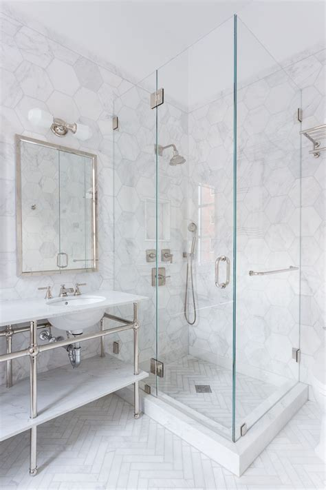 pebble floor tile lowes 34 stunning marble bathrooms with silver fixtures