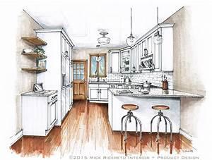 Hand Rendering Mick Ricereto Interior + Product Design