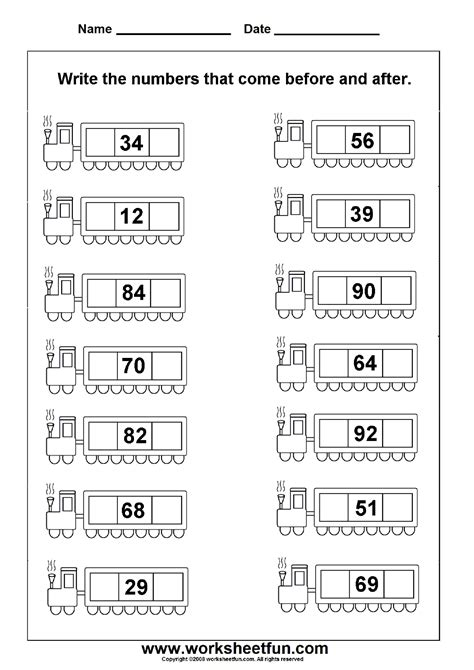 before after numbers 2 worksheets printable