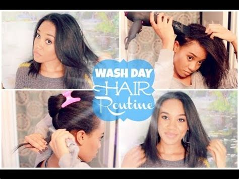My Wash Day Hair Routine  Washing & Straightening Youtube