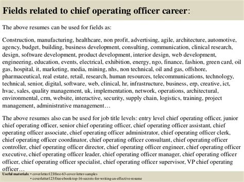 top 5 chief operating officer cover letter sles