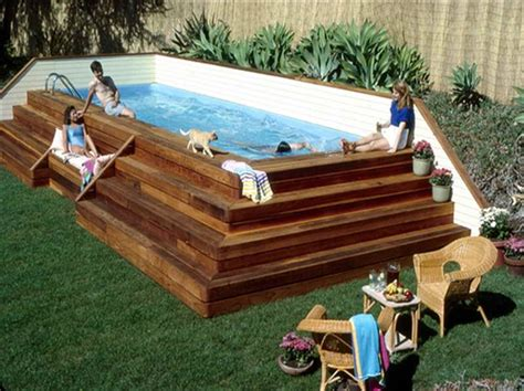 Above Ground Pool Steps Wood by Pool Wooden Above Ground Pool Stairs Steps With Rattan Chairs
