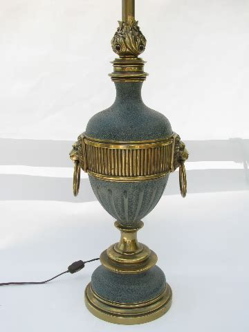 solid brass table lamp vintage stiffel flame lions heads