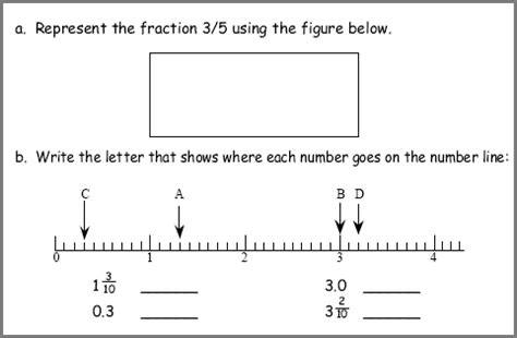representing fractions on a number line worksheet