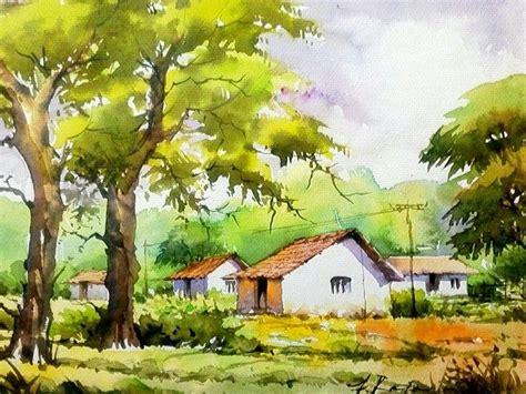 village scene  watercolor   poster color