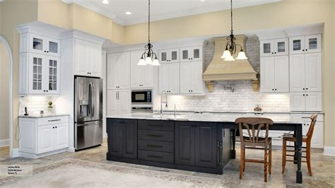 Kitchen With White Cabinets And A Gray Island
