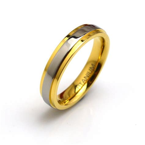 sale 4mm pure titanium wedding rings with gold color for jewelry comfort fit wedding