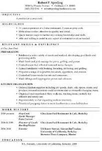 resume exles for pizza cook resume sle prep cook