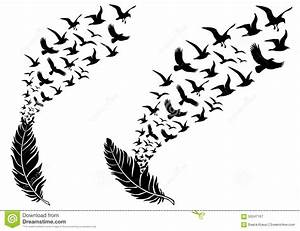 Feathers With Flying Birds, Vector Stock Vector Illustration: 59347167