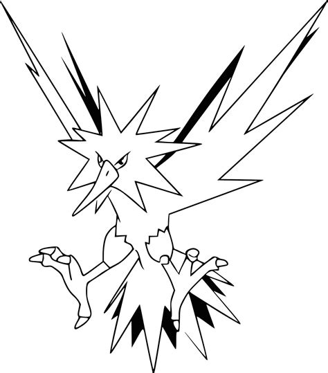 Kleurplaat Zapdos by Get Free Printable Zapdos Coloring Pages