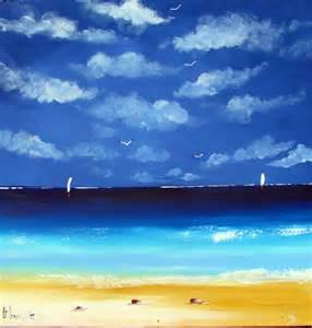 Seascape - beach painting - acrylic on canvas artwork - blue white yellow rare - Sydney Australia scene - Wall Art - Home decor