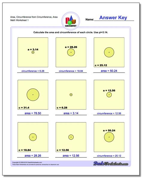 Circles  Area And Circumference