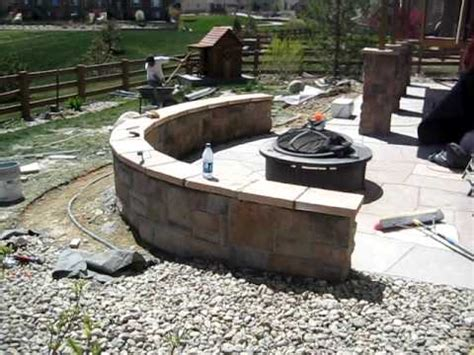 installing seating wall and flagstone patio
