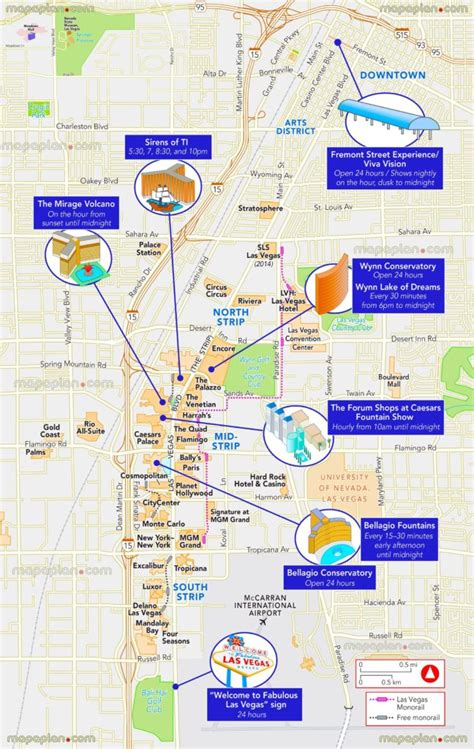 las vegas strip map   attractions hotels