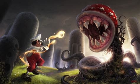 Mario Vs Piranha Plant Hd Wallpaper Background Image