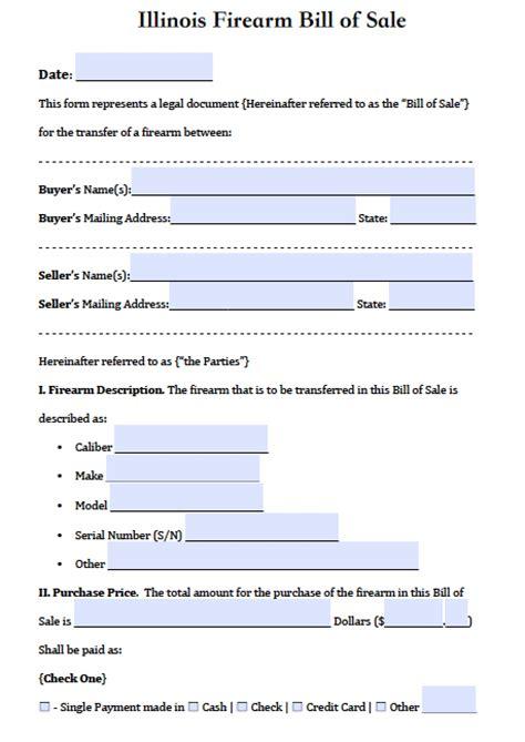 illinois firearmgun bill  sale form  word