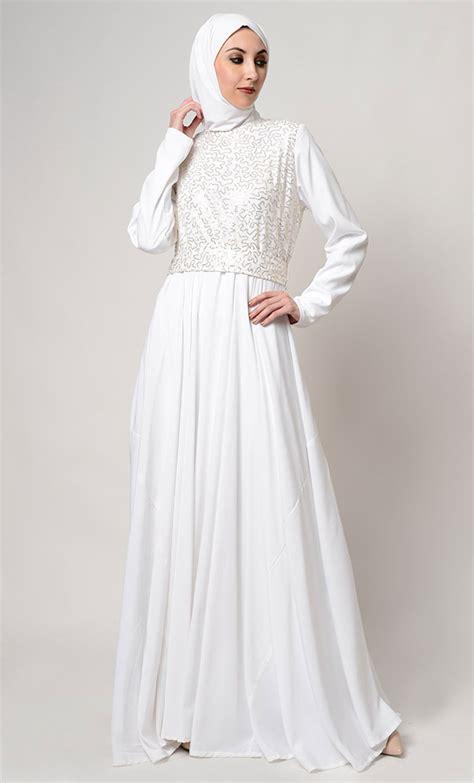 model gamis putih mewah modern elegan terbaru
