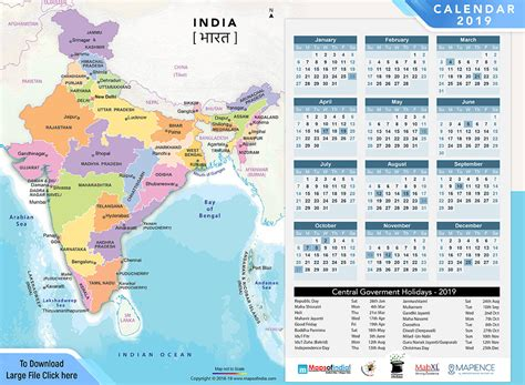 year calendar public holidays india