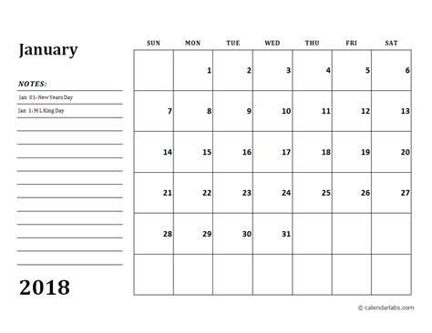 2018 Monthly Calendar Template 2018 Calendar Template With Monthly Notes Free Printable