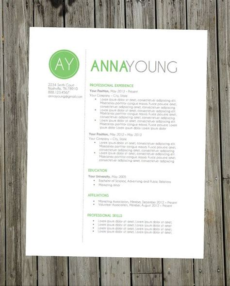 Modern Resume Format Doc by Resume Template Instant Word Document Modern