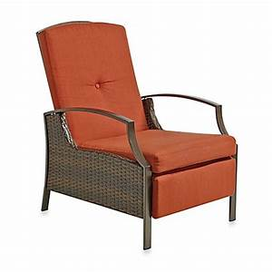 wicker adjustable recliner with cushion in terracotta With bed recliner pillow