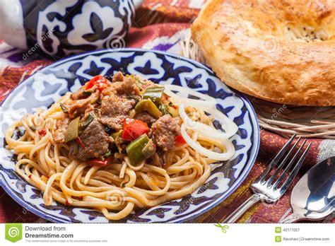 cuisine ouzbek uzbek national food lagman on traditional fabric adras stock image image of kazi fabric 42177057