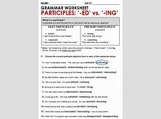Participle Adjectives 'ed' vs 'ing' All Things Grammar